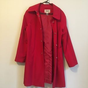 London Fog Womens Red Trench Coat Crepe Hooded